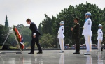David Cameron lays a wreath at the Kalibata National Heroes Cemetery in Jakarta today on his arrival in Indonesia for a two day visit.