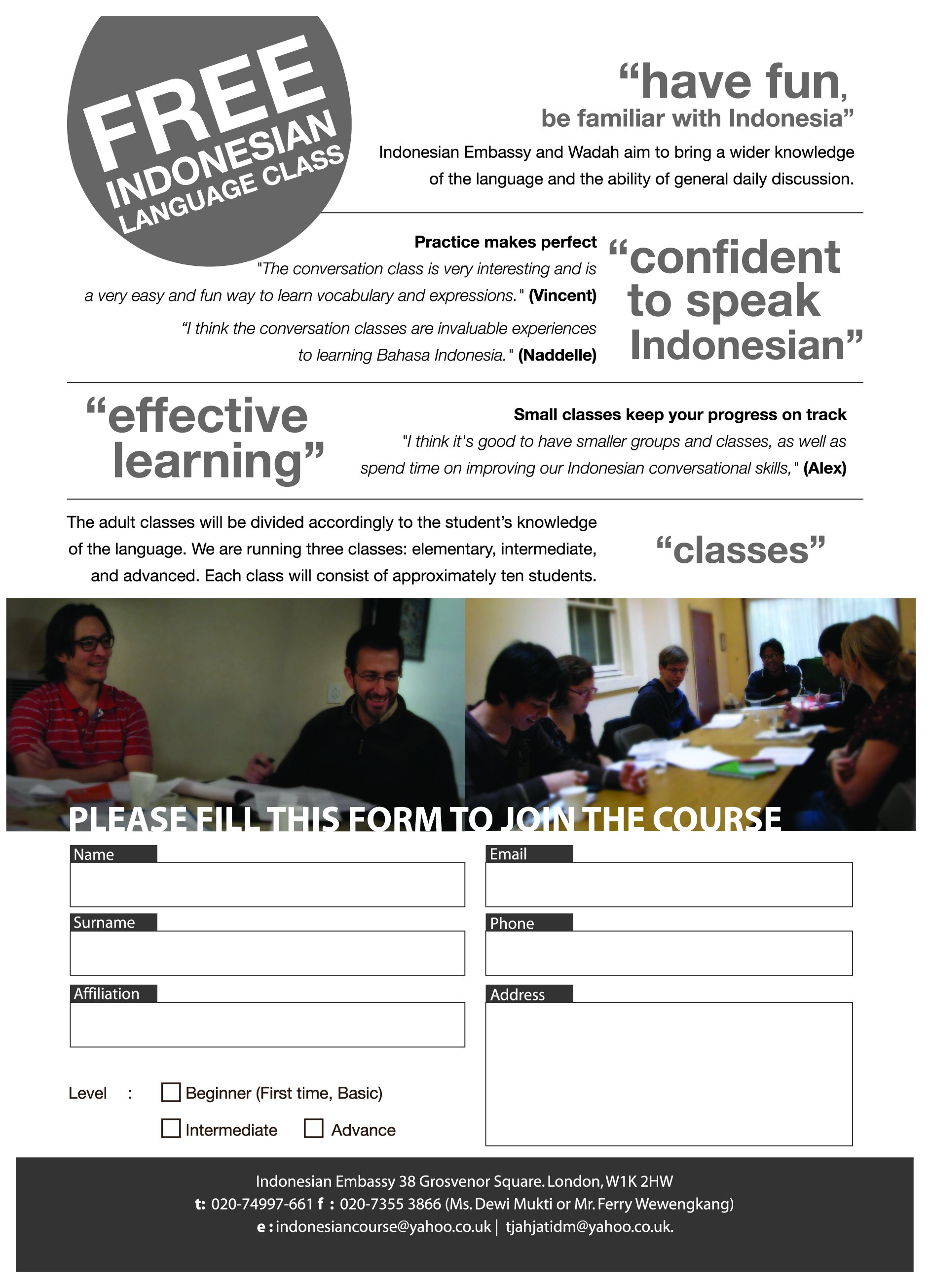 Free Indonesian Language Class | Indonesian Education and Culture