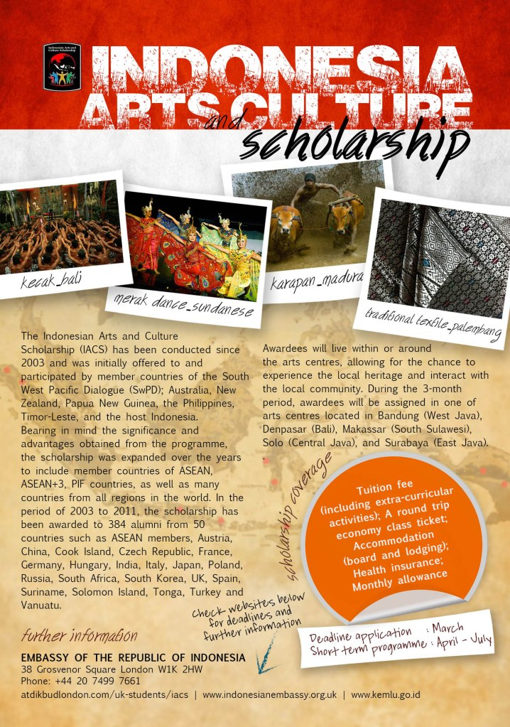 Indonesia Arts and Culture Scholarship