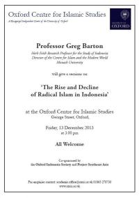 The Rise and Decline of Radical Islam in Indonesia - Professor Greg Barton
