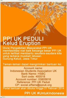 PPI UK Peduli Kelud Eruption