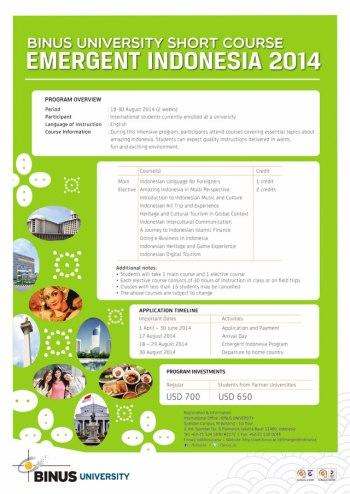 Binus Short Course-Emerging Indonesia 2014