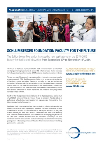 Schlumberger Foundation Call for Applications 2015-2016 Faculty for the Future Fellowships
